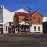 Painting of intersection Marion & Norton Sts, Leichhardt, Midday light by Australian artist Rubi Cassidy