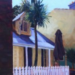 Painting of inner city terrace cafe, afternoon light, by Australian artist Rubi Cassidy