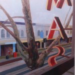 Painting of view from cinema in Oxford St Sydney, , by Australian artist Rubi Cassidy