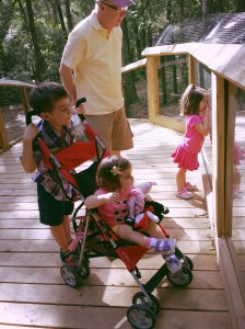 Cousins at the Tallahassee Museum looking at otters.