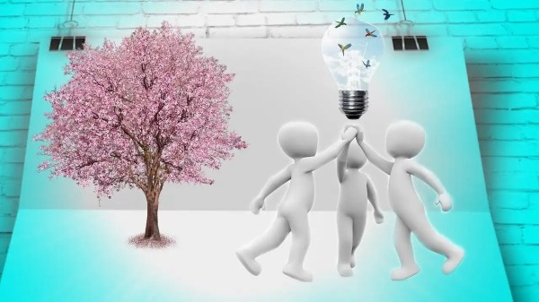 cartoon bubble people with light bulb