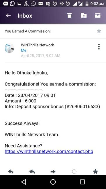 WINThrills Network Earnings from commissions