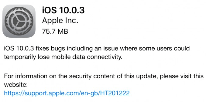 Apple iOS 10.0.3 update.