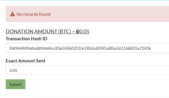 Submitted Transaction Hash ID#