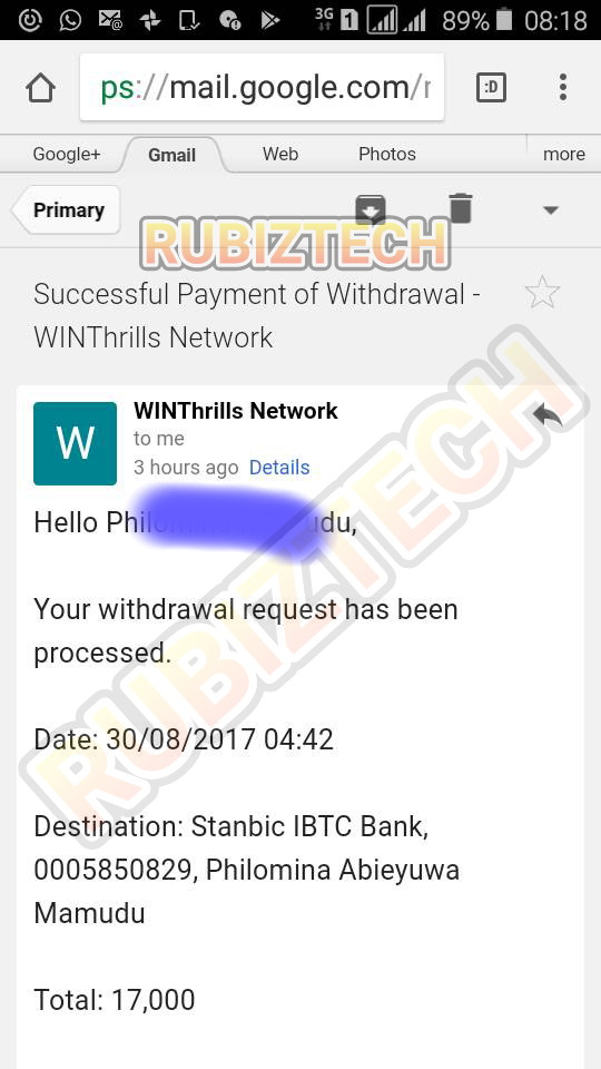 You can withdraw your Winthrills profits and get paid into your local bank account