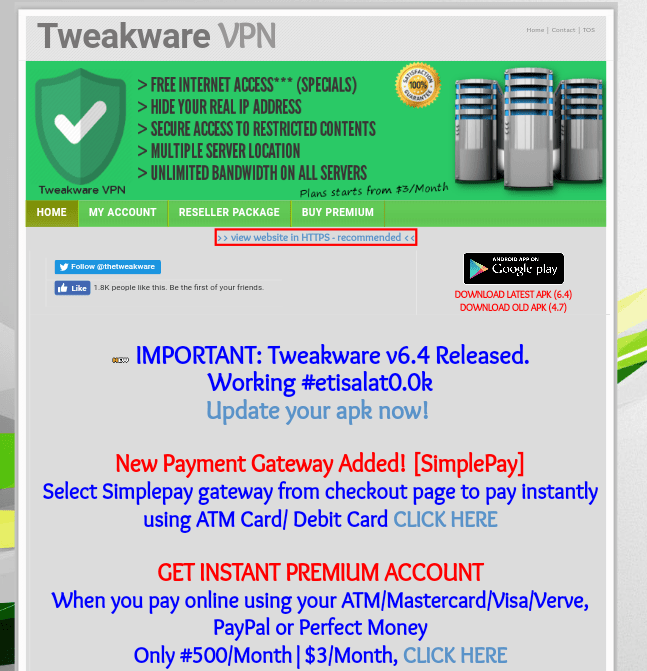 Latest tweakware vpn updates to v6.4