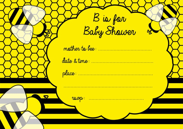 FREE Bumble Bee Baby Shower Invitation