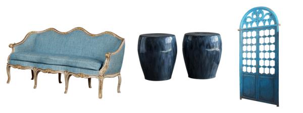 ROCOCO SOFA —GLAZED HANDMADE GARDEN SEATS— TEAK DOUBLE DOOR