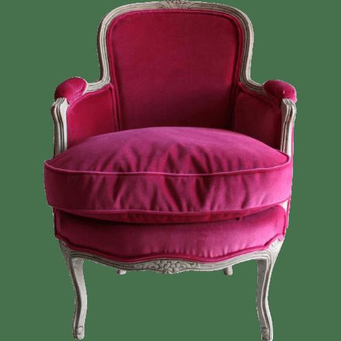 Louis XV-Style Diminutive or Child's Bergere Chair in Fuchsia Velvet