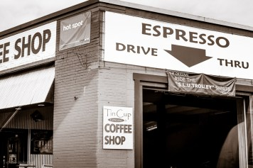 Only in America. Drive through espresso.