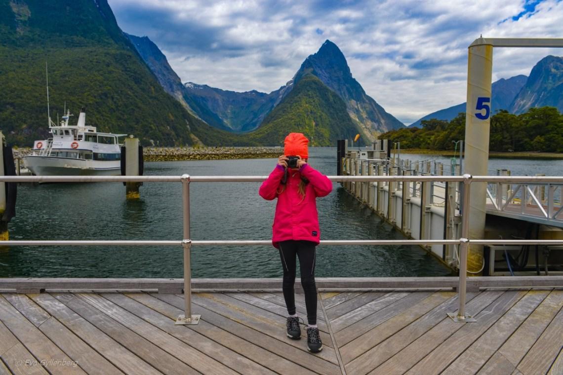Lilla E fotograderar i Nya Zeeland