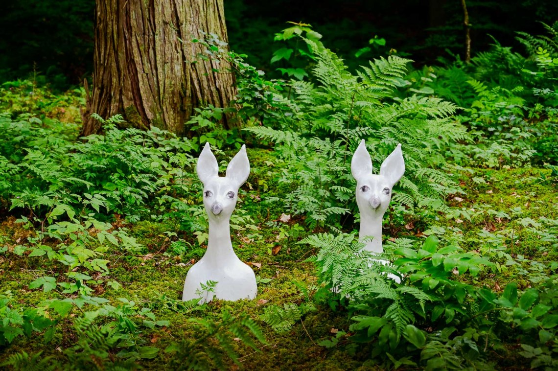 Two art installations in the forest