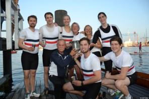 Der Achter des Ersten Kieler Ruder-Clubs verteidigte seinen Titel beim Kieler Stadtachter-Rennen