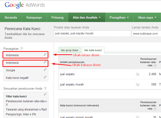 tutorial riset keyword
