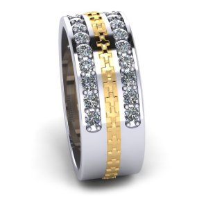 Men's Cross and Diamond Ring