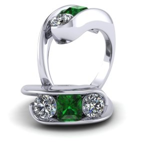 Emerald and Diamond modern Ring
