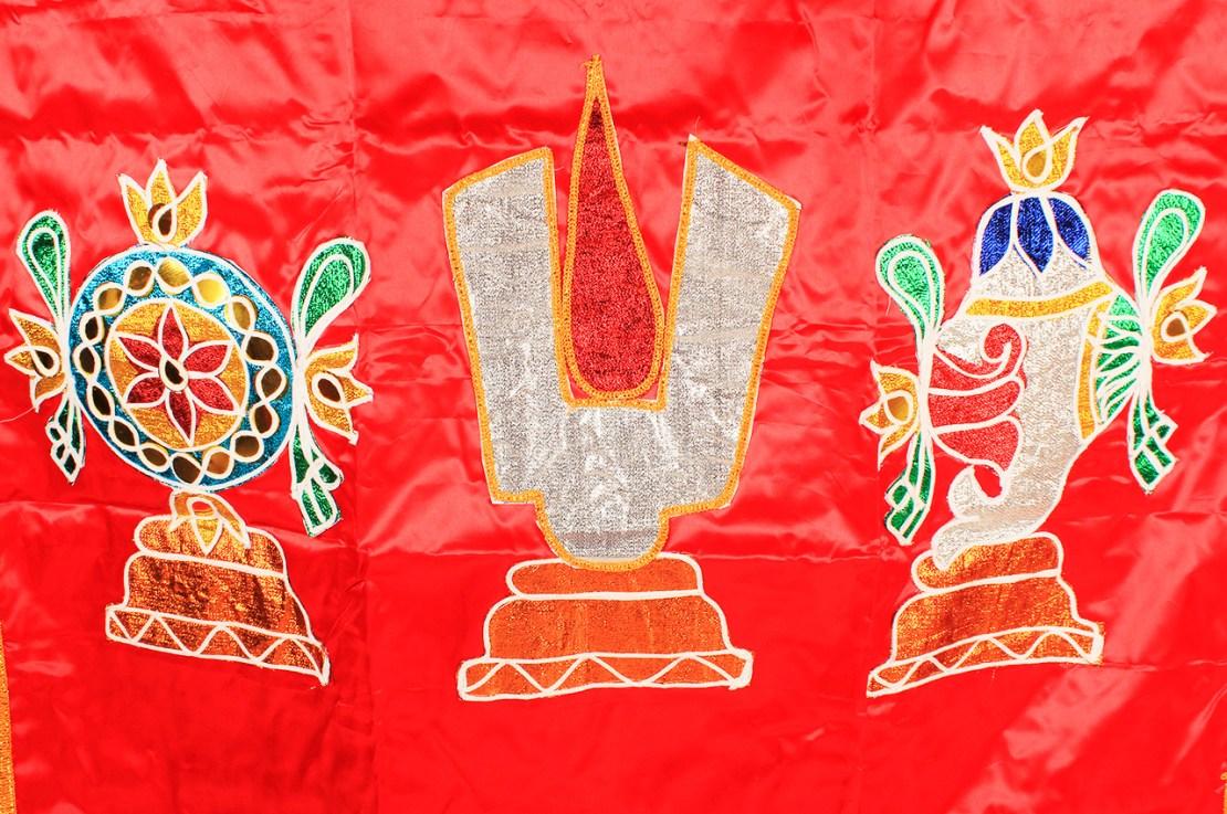 Temple Curtain Venkateshwara Design Red