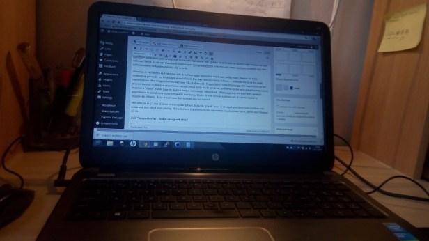 Een opname van mijn laptop, terwijl ik het artikel schrijf..