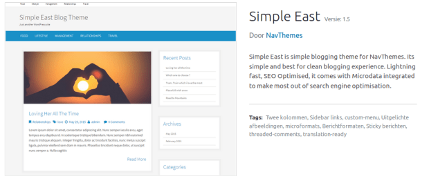 Screenshot SimpleEast WordPress Theme