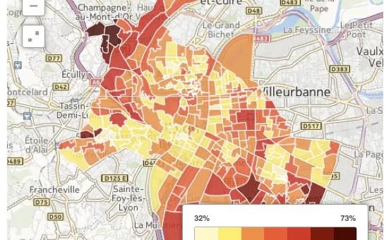 [CARTE 2014] L'abstention à Lyon, la grande adversaire des candidats