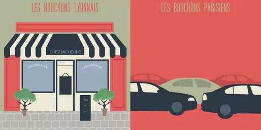 Bouchons lyonnais/bouchons parisiens