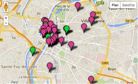 Capture de la cartographie de harcèlement de rue, dans le Grand Lyon (source : Hollaback France).
