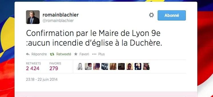 Corée – Algérie : non, l'église de la Duchère à Lyon n'a pas été incendiée