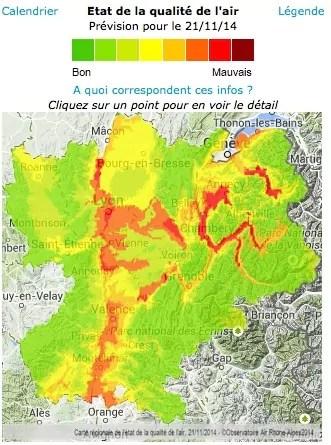 "Carte de l'""épisode de pollution"" du 21 novembre 2014. Capture d'écran d'Air Rhône-Alpes"