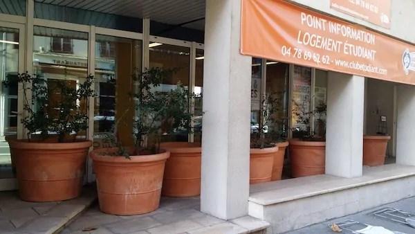 """Pots de fleurs anti-SDF du 78, rue de Marseille devant """"le Point d'information logement étudiant"""". ©Rue89Lyon"""
