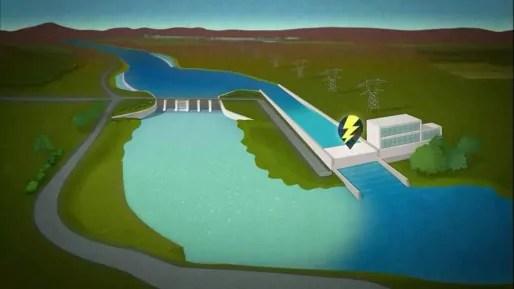 Système des turbines en bord de Rhône. Capture d'écran documentaire.
