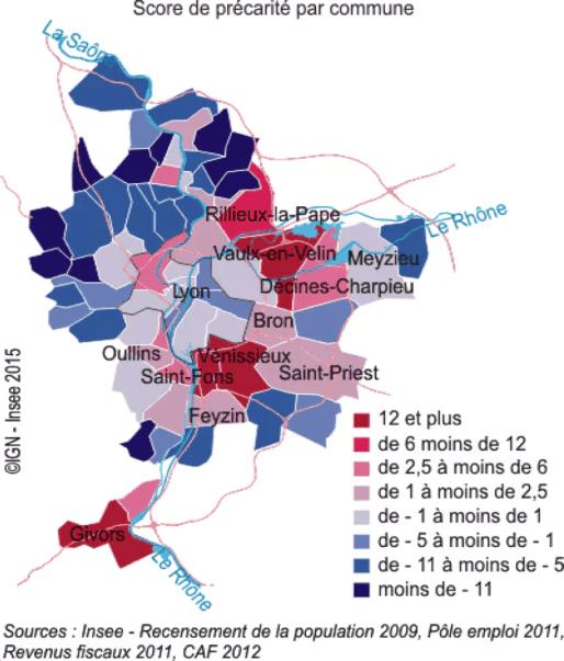Les zones de précarité se concentrent dans l'est lyonnais © INSEE Rhône-Alpes