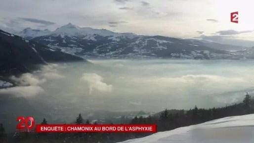 Vallée de l'Arve sous une épaisse couche de pollution, capture d'image du reportage de France2