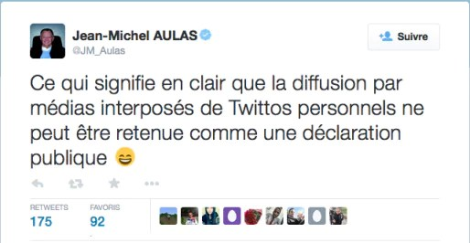 Capture d'écran d'un tweet de Jean-Michel Aulas