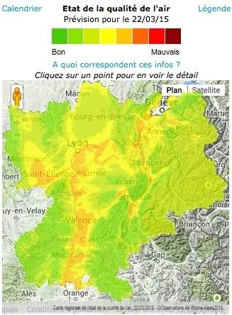 Bulletin de l'observatoire Air Rhône-Alpes du dimanche 22 mars à 12h.  Capture d'écran