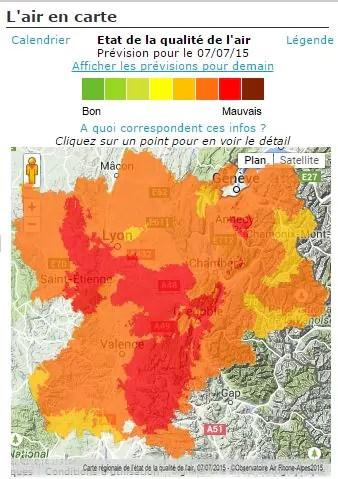 capture d'écran carte air-Rhône-Alpes du 7 juillet