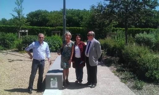Alain Giordano, Céline Faurie-Gauthier, Myriam Picot (maire du 7è) et Roger Peschaud, président du Comité départemental du Rhône de la Ligue contre le cancer.