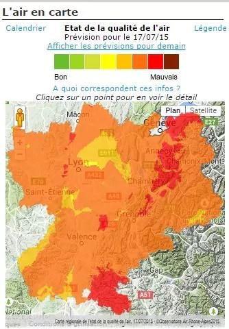capture d'écran carte Air Rhône-Alpes du vendredi 17 juillet