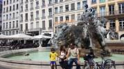 La fontaine Bartholdi des Terreaux. Elle sera démontée après la prochaine édition de la Fête des Lumières pour être restaurée. ©LB/Rue89Lyon