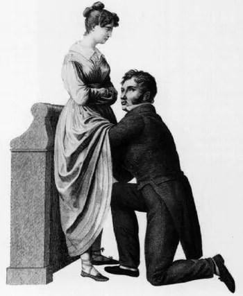 Le sentiment de honte associé à l'examen des muliebra a longtemps handicapé la gynécologie. Ce dessin de Jacques-Pierre Maygnier date de 1822 et montre une procédure de « compromis », dans laquelle le médecin se met à genoux devant la femme, mais ne peut pas regarder ses organes génitaux. Source : Wikipedia.
