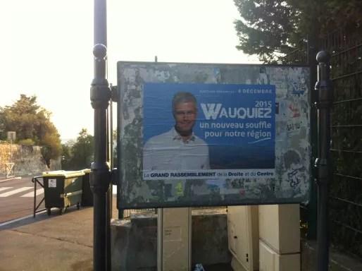 Affiche de campagne de Laurent Wauquiez, collée à Oullins. Crédits : DD/Rue89Lyon.