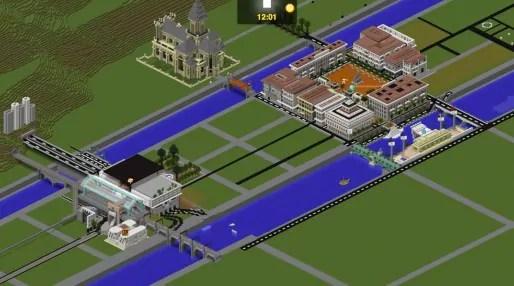 La place Bellecour et la gare de Perrache sur Minecraft. Capture d'écran