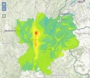 Carte de la pollution en Rhône-Alpes pour mardi 1er décembre 2015. En rouge, Lyon. Capture d'écran Air Rhône-Alpes