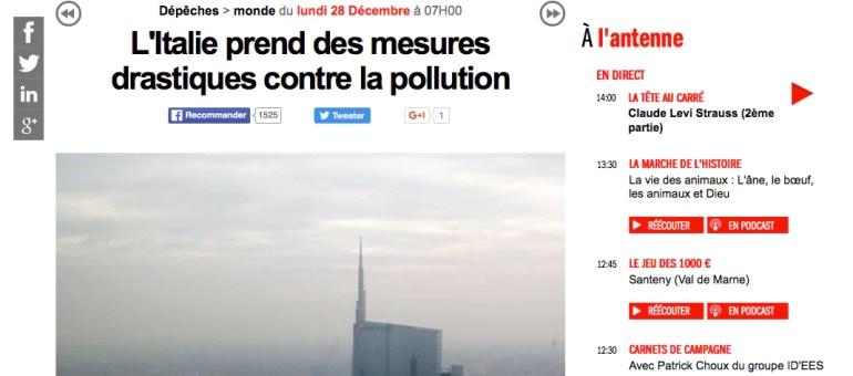Pollution : à Milan les voitures restent trois jours au garage