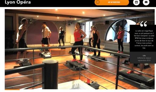 Capture d'écran du site Internet de L'Appart fitness.