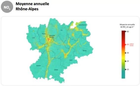 Capture d'écran Air Rhône-Alpes. Bilan de la qualité de l'air en 2015. Pollution au dioxyde d'azote.