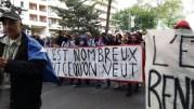 L'une des banderoles lycéennes de tête de la manifestation du 19 mai. ©LB/Rue89Lyon