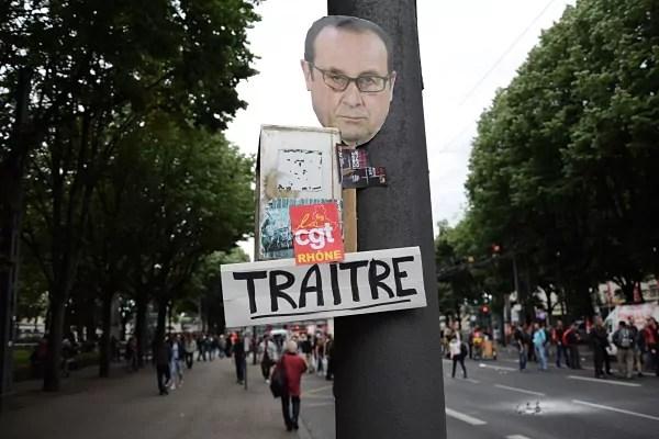Un message laissé à Jean Macé en fin de manifestation.© SS Rue89Lyon