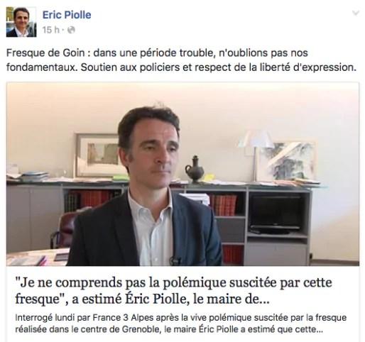 Capture d'écran du FB d'Eric Piolle.