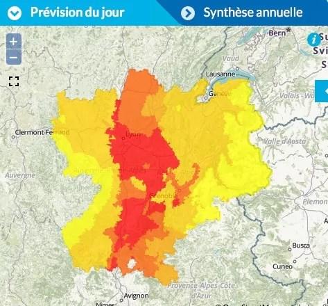 Dimanche 10 juillet, pollution à l'ozone sur l'ensemble de Rhône-Alpes. Capture d'écran Air Rhône-Alpes