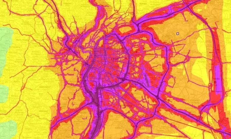 Carte de la pollution air-bruit de Lyon. Capture d'écran Orhane.